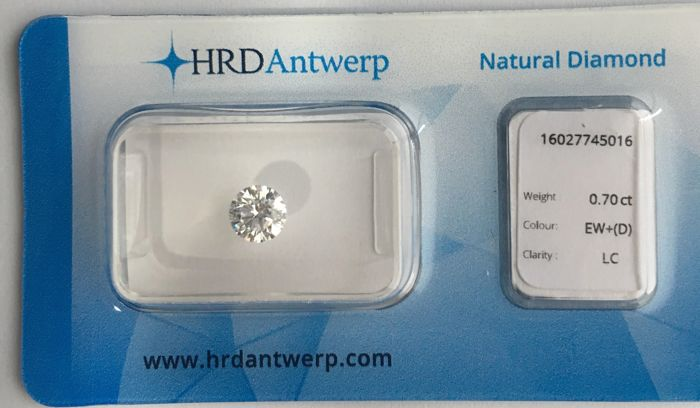 0.70 ct brilliant cut diamond, Colour D, Loupe Clean, IF clarity, HRD Hoge Raad (High Council) VG VG EXC