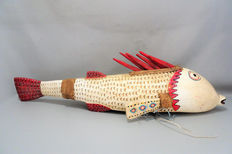 Large African marionette fish in wood - BOZO - Mali