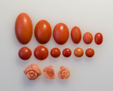 Collection of 84.5 ct of genuine antique coral