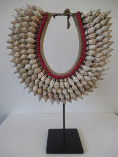 Decorative collar on stand from the LATMUL tribe - Papua New Guinea.