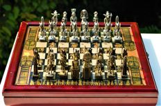 Chess Set with Egyptian figuration and board