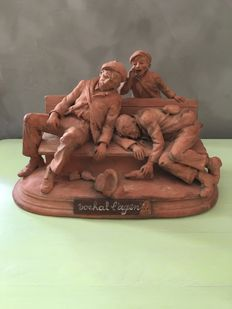 Jean Florkin (1876-?) - Group in terracotta - signed and dated 1925