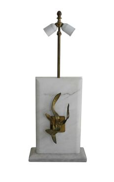 Roger Vanhevel ( attri.) - Brass and marble table lamp