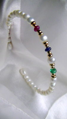 Emerald ruby sapphire pearls bangle 585 gold, no reserve price
