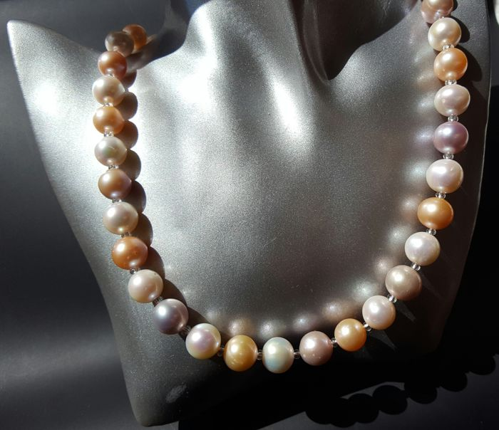 Cultured fresh water pearl necklace,approx 11-12. mm, assorted colours with 14k gold clasp - length 45 cm