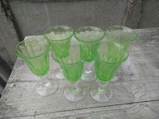 Saba (Le Biot) - 6x green glasses (18.5cm)