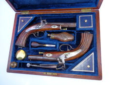 Pair of French Percussion Duelling Pistols 1850/1860 in case.