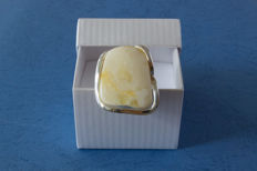 Sterling Silver ring & Baltic Amber in milk honey colour, not pressed, No Reserve
