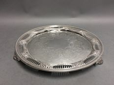 Silver plated round serving tray, Silbray & Hall,