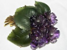 Violet brooch, violet amethyst jade and diamond bouquet, 585 gold