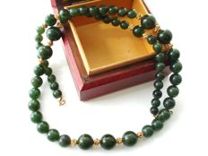 Vintage 14K Gold filled necklace with genuine Jade-Nephrite beads in dark spinach green colour, 1950's