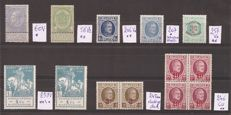Belgium 1893/1940 - Collection of varieties on cards with description - between OBP60 and OBP527