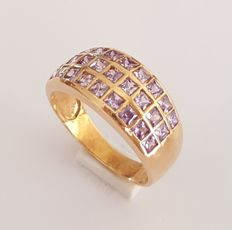 18 kt Yellow gold ring chequerboard style with amethyst - Size: 18.1 mm 17/57 (EU)