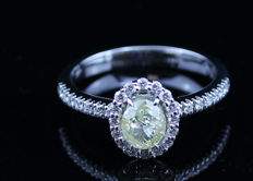 18K Diamond ring, 1.36 ct with Official certificate. - NO RESERVE