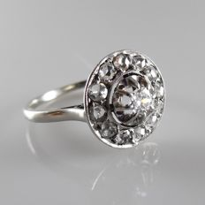 White gold with platinum Art deco ring with diamonds, ring size: 18 (56)