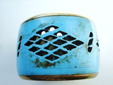 Vintage 1970s - Modernist Wide Bangle Bracelet - Turquoise blue lucite with cut outs