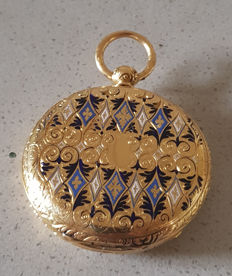 39 Geneve - enamel jewellery open-face double mantle pocket watch for Ottoman Empire - around 1850