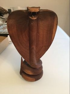 Large hand carved wooden cobra figurine