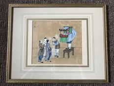 Watercolor puppet show - China - 19th century
