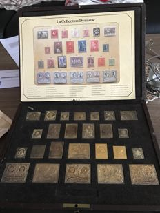 Belgium - Collection of stamp copies in gold-plated silver