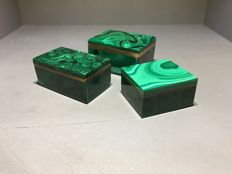Lot of 2 Green Malachite boxes - Perfect condition (3)