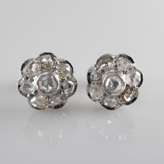 Antique white gold cluster ear studs with rose cut diamonds, diameter 11 mm