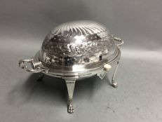 Silver plated oyster dish on four claw feet, William Hutton & Son, Sheffield, England, ca 1850