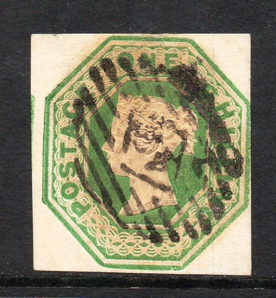 Great Britain Queen Victoria 1847 - 1 Shilling Green Embossed Issue Die 2, Stanley Gibbons 55