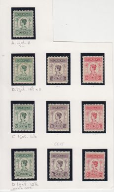 Curacao 1916/1933 - Wilhelmina type palmtree - NVPH 68/70 in all perforations.