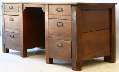 Oak blanket chest converted into desk  – Netherlands - 20th century with 18th century parts