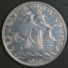 Portugal Republic -- 10 Escudos 1948 -- silver