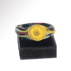 Egyptian Mosaic Glass Ring, Roman Period, 2.7cm