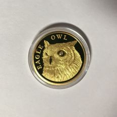 Kazakhstan - 500 Tenge 2012 'Eagle Owl' - ¼oz gold with 1 diamonds