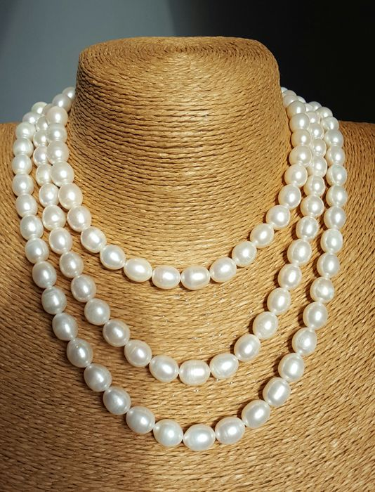 Cultured Pearl Necklace - Pearl Size:9-11 mm - 120 cm