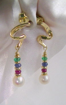 Emerald ruby sapphire pearls earrings 585 gold, no reserve price