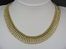 Very beautiful women's necklace, American double, yellow gold-plated.