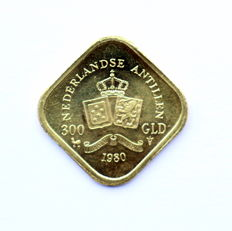 Netherlands Antilles – 300 guilder coin 1980 – gold
