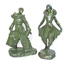 Parentani - Pierrot and Colombine, two bronze sculptures