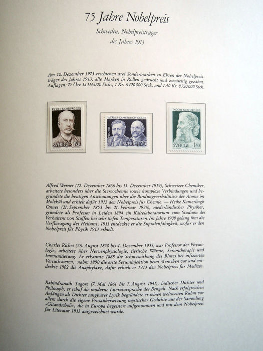 Worldwide Nobel Prize Collection Of Stamps And Souvenir