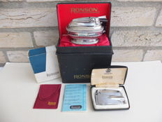 Ronson - table lighter + Ronson Varaflame pocket lighter.