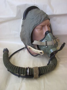 Original russian pilot   helmet with oxygen mask - 1971 year