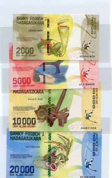 Madagascar - 2000, 5000, 10000 and 20000 Ariary (2017) - Pick New
