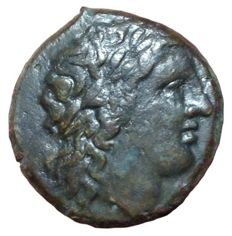 The Greek Antiquity - Sicily, Syracuse, Hiketas II  (287-278 BC) - Æ (Bronze, 21mm, 7,65g.) - Head of Zeus Hellanios / Eagle on thunderbolt - SNG ANS 797-802; Calciati II, 168