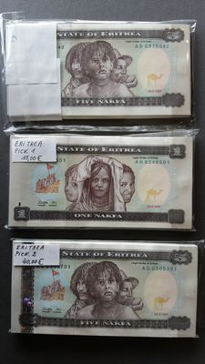 Eritrea - 326 currency notes of Eritrea