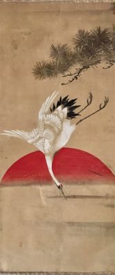 Crane, Pine and Sun - old handpainted scroll painting, sealed - Japan - ca. 1850 (late Edo)