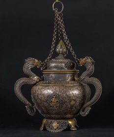 Incense burner in 950% silver, partially gold-plated - Tibet - mid-19th century (1840-1850)