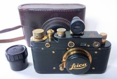 FED copy Leica III Bildberichter black-gold - leather case - viewfinder + storage cassette - lens cap