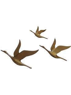 Mid-century wall sculpture flying brass swans ( Curtis Jere ? )