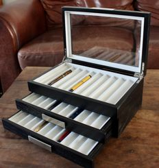 Luxury Black Woodgrain Pen Collectors Box for 30 Pens - Satin finish - with lower drawer - in new condition