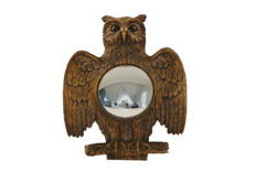 Unknown producer - Gilded Owl Mirror with Convex Glass in Rustic or Hollywood Regency style